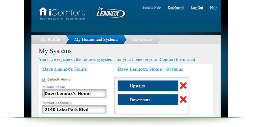 lennox icomfort thermostat. our new software update makes it easy to manage thermostats on your myicomfort.com dashboard. if you have replaced or returned an icomfort wi-fi thermostat, lennox icomfort thermostat